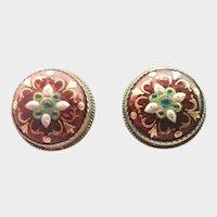 French Silver Enamel BRESSANS Clip Earrings