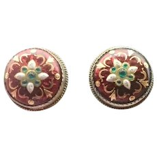 French Silver Enamel BRESSANS Clip Earrings