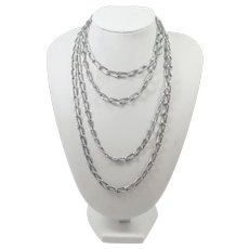 """French Antique Silver  Decorative Long Guard Chain - 54"""" - 37.1 grams"""