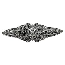 Art Deco Silver and Marcasites Duette Clips Brooch
