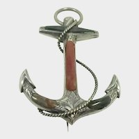 Scottish Victorian Large Silver Agate Anchor Brooch