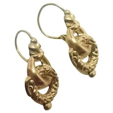 French 19C Gold Filled Lever Arch Wires Earrings