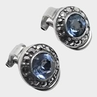 French Silver  Ear Clips with Pastes and Marcasites
