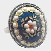French Silver Enamel Bressans Ring