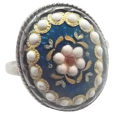 French Silver Enamel Bressans Ring