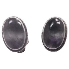 English Blue John Gemstone on Sterling Silver Clip Earrings