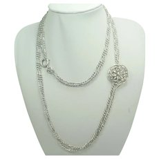 French Antique Silver Guard Chain with Daisy Clip