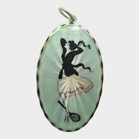 Art Deco Norwegian Silver Enamel Tennis Lady Pendant - Meldahl?