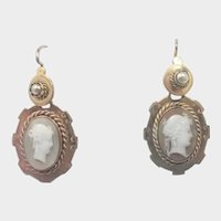 French 19C Cameo 'Pomponne' Drop Earrings