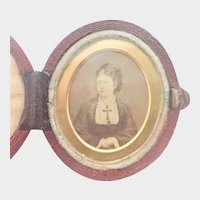 Victorian Leather Travelling Case with Victorian Lady Photo