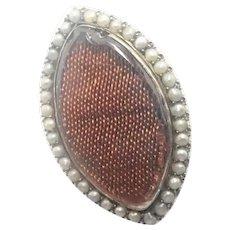 Georgian 9k and Seed Pearls Memorial Pin Pendant
