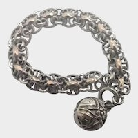 French Antique Silver and Rose Gold Watch Chain Bracelet