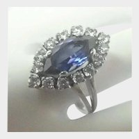 French Late Deco Silver Blue Topaz and Pastes Ring
