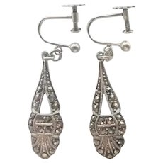 English Sterling Silver and Marcasites Screw Back Earrings