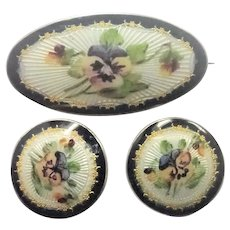 Norwegian Antique Silver Enamel Pansy Set of Pin and Buttons - ELVIK