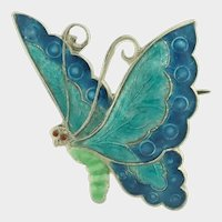 Art Deco English Silver Enamel Butterfly Pin