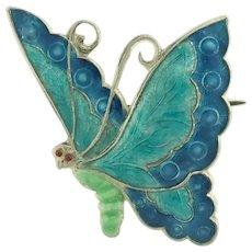 Art Deco English Silver Enamel Butterfly Pin