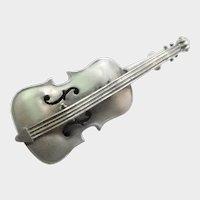 Victorian Sterling Silver Cello Pin