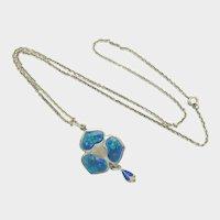 Arts & Crafts 1909 Silver Enamel Pendant Necklace - James Fenton