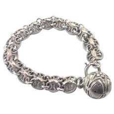 French Antique Silver Bracelet with Rose Gold and Ball Charm