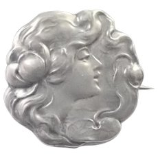 Art Nouveau 800 Silver Lady with Waterlily Pin
