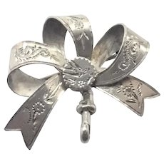 Victorian  1896 Sterling Silver Engraved Watch Pin
