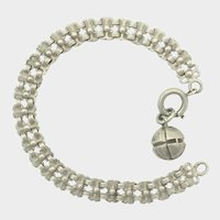 """French Antique Silver Bracelet with Ball Charm - 7½"""" - 15.5 grams"""