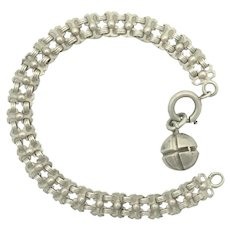 "French Antique Silver Bracelet with Ball Charm - 7½"" - 15.5 grams"