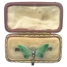 European Antique Silver Enamel Small Butterfly Pin Boxed