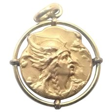 French Art Nouveau Gallic Warrior Gold Filled Pendant or Charm - Murat