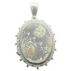 Victorian Silver Aesthic Locket with Gold Embellishments