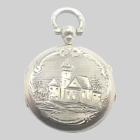 French Antique Small Silver Engraved Locket Charm