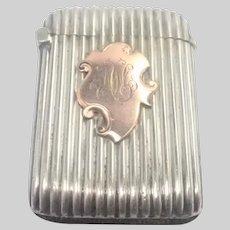 European Circa 1900-1910 Silver Plated and Rose Gold Vesta Case