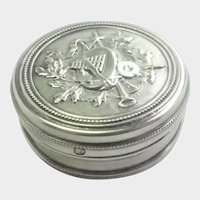 French Antique Sterling Silver Music Pill or Trinket Box
