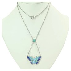 English Art Deco Silver Enamel Butterfly Necklace - CHARLES HORNER