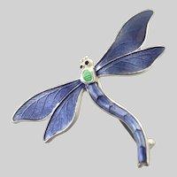English Circa 1918 Silver Enamel 'Suffragette' Dragonfly Pin - JA&S