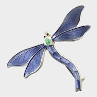 English Circa 1918 Silver Enamel 'Suffragette' Dragonfly Pin - JA&S