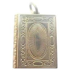 Victorian Gilt Brass Book Locket Charm