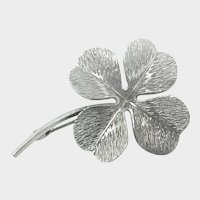 Dimensional Silver Four Leaf Clover Pin