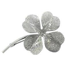 Dimensional Silver Four Leaf Clover Pin