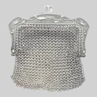 French Antique Silver Mesh Purse with Early Aircraft Motif