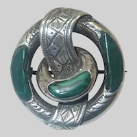 Scottish Victorian Silver Malachite Belt Pin