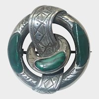 Scottish Victorian Silver Malachite Belt Pin