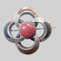 Scottish Victorian Engraved Silver Agates  Pin