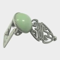 French Art Deco Silver Jade Oriental Style Clip