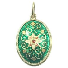 French Antique BRESSANS  18K Gold Enamel Pendant
