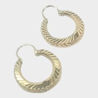 French Gold Filled ORIA Creole Earrings - Pierced Ears