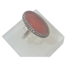 Carnelian Agate and Marcasites on Sterling Ring