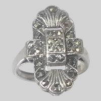 Art Deco English Sterling Silver and Marcasite Ring