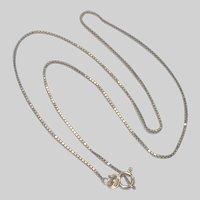 "Italian 9K Gold Box Chain -17 3/4"" -2.7 grams"
